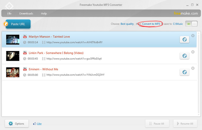 โปรแกรม Freemake YouTube MP3 Converter